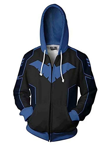 Greed Land Nightwing 3D Print Zipper Hoodie Sweatshirts Super Hero Cosplay Costumes for Adult -