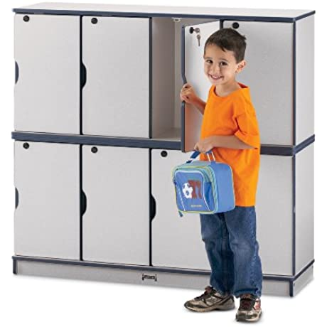 Stacking Lockable Lockers Triple Stack Blue School Play Furniture