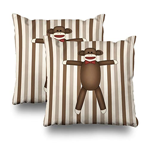 "Darkchocl Set of 2 Daily Decoration Throw Pillow Covers Adorable Sock Monkey Home Decor Square Pillowcase Cushion for Couch Sofa or Bed Modern Quality Design Cotton and Polyester 18"" x 18"""