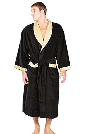 Men's Terry Cloth Bath Robe - Milano (Black, Small/Medium) Gifts for Husband Fiance Boyfriend MB0102-BLK-SM