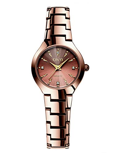 CIVO Women Watches Ladies Stainless Steel Watch Waterproof Luxury Fashion Elegant Watches for Woman Girls Business Dress Analogue Quartz Wrist Watch (Rose Gold 2)