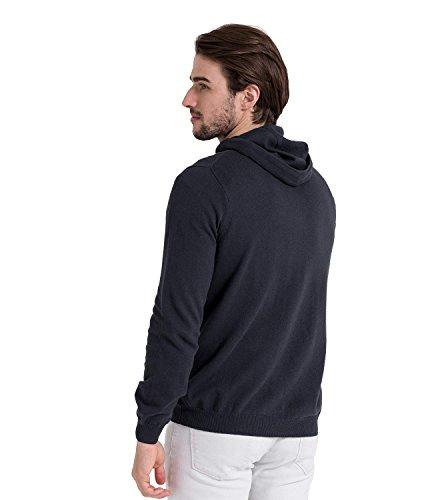 WoolOvers Kapuzenpullover mit Reiverschluss aus Baumwolle-Kaschmirwolle für Herren Classic Navy, S