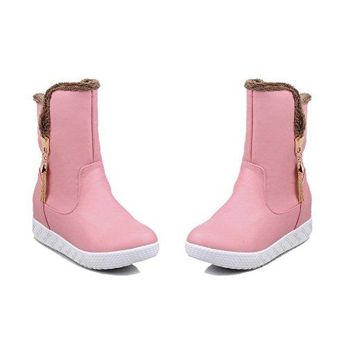 AllhqFashion Damen Ziehen auf Blend-Materialien Rund Zehe Stiefel Pink