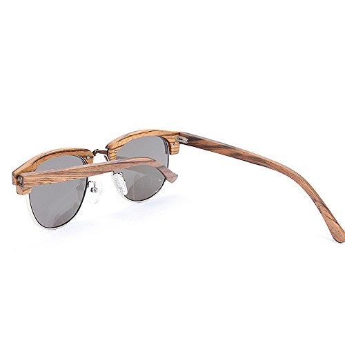 à Rimless les conduite main protection les femmes lunettes élégant et la rétro semi lunettes unisexe Style soleil lunettes pour de de en unisexe lunettes soleil de bois Rétro soleil Beige solei hommes UV de TZn0wq