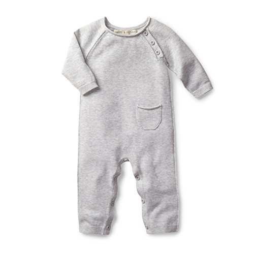 Hope & Henry Layette Grey Baby Sweater Romper Made with Organic Cotton Size 3-6 Months