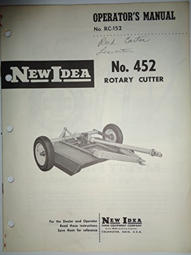 New Idea 452 Rotary Cutter Mower Operators/Parts Manual Catalog 4/65 RC-152
