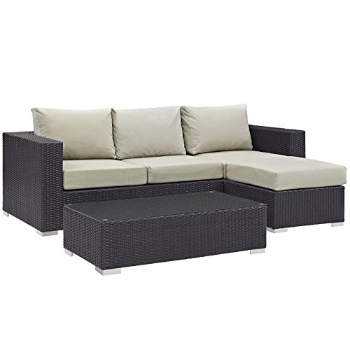 Modway Convene Wicker Rattan 3-Piece Outdoor Patio Furniture Sofa Set in Espresso Beige