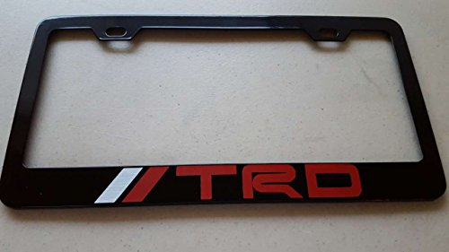 Toyota TRD Red Vinyl Decal on Black Metal License Frame with screw caps included