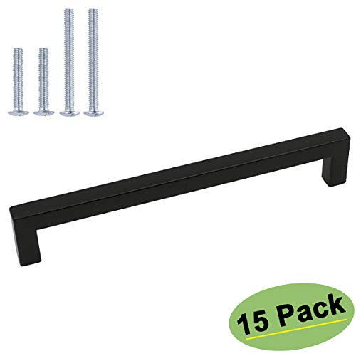 goldenwarm Black Drawer Pulls 15 Pack Cabinet Handles 7-1/2in Hole Centers - HDJ12BK Modern Cabinet Hardware Black Handles for Dresser Drawers Square Drawer Pulls for Bathroom, Closet, Wardrobe