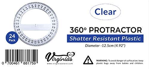 Pack of 24, 360-degree Protractor, 12.5cm (4.92'') Diameter, Crystal Clear by Virginia's Store (Image #1)