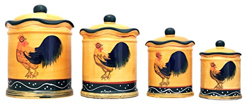 Tuscany Sunshine Country Rooster, Hand Painted Canisters, Set of 4, 85701 by (Apple Canister Sets)