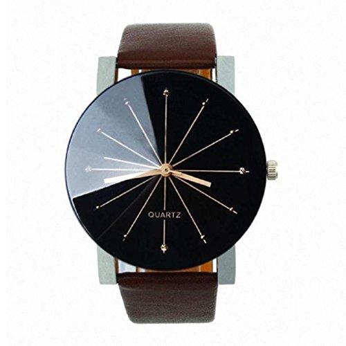 Sandistore 1PC Men Quartz Dial Clock Leather Wrist Watch Round Case (Coffee)