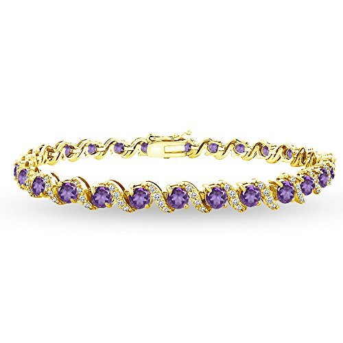 (GemStar USA Yellow Gold Flashed Sterling Silver African Amethyst 4mm Round-Cut S Design Tennis Bracelet with White Topaz Accents)