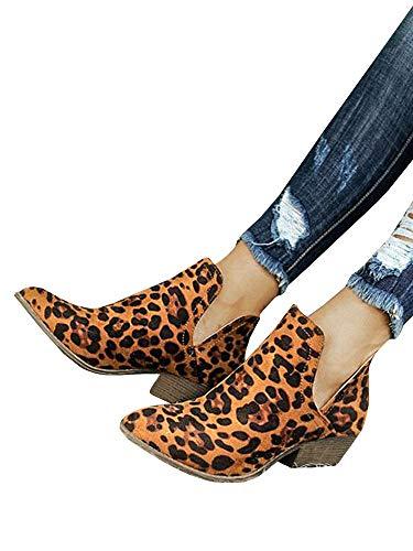 (Womens Faux Suede Stacked Wood Heel Metal Detail Side Slit Booties)