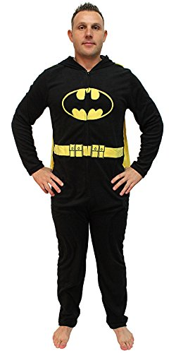 DC Comics Batman Mask Hood Adult Caped Costume Union Suit (Black, Large)]()