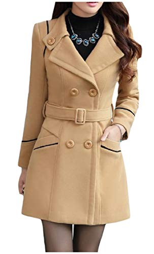 ❥ Highisa Women's Skinny Wool-Blend Pockets Turn Down Collar Blazer Jacket Trenchcoat Camel XL Camel Wool Blazer 11