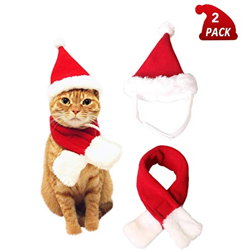 QIMMU Katze Weihnachtsmütze mit Schalldämpfer Hündchen Nikolausmütze Kopfbedeckung Accessoires Weihnachtskostüm Outfits für Haustier Hund Katze Hase 2 Stück