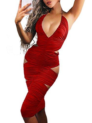 (LAGSHIAN Womens Sexy Deep V Neck Halter Bodycon Cut Out Midi Club Dress Red)