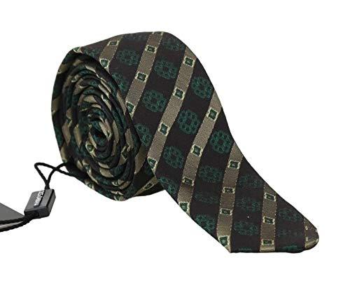 Dolce & Gabbana Green Yellow Silk Striped Slim Tie (Dolce & Gabbana Striped Tie)