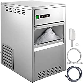 VBENLEM 44LB 24H Snowflake Ice Maker Commercial Ice Machine Countertop Stainless Steel Ice Maker Mac