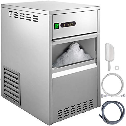 VBENLEM 55LB/24H Snowflake Ice Maker Commercial Ice Machine Countertop Stainless Steel Ice Maker Machine Freestand Crusher Suit for Seafood Restaurant Bar Coffee Shop Home Use ()