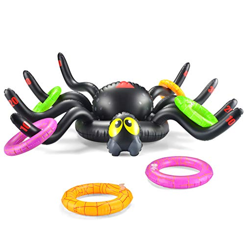 Fun Halloween Games For Toddlers (Huge Inflatable 37 Inch Spider Ring Toss Game, Perfect for Halloween Party)