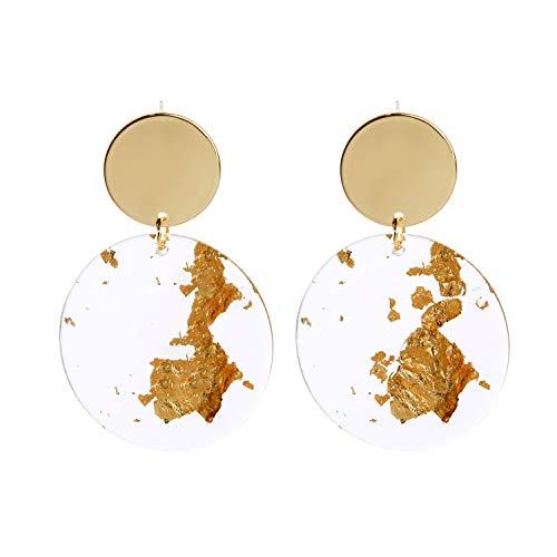 SENOMOR Earrings for Women, Earrings Double Circle Transparent Acrylic Drop Dangle Gold Plated Lightweight Boho Earrings for Women Girls