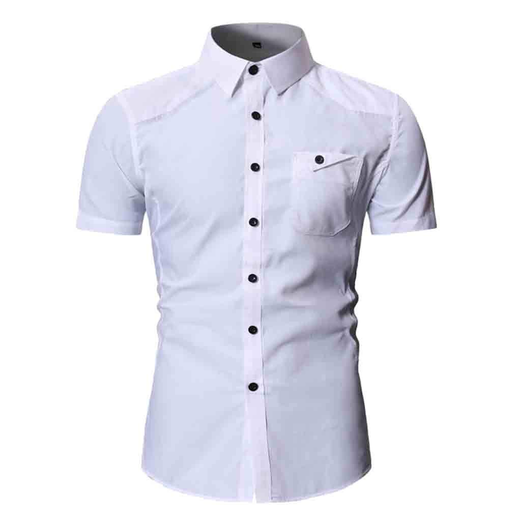 NUWFOR Fashion Men's Button Personality Pocket Short Sleeve T-Shirt Blouse Tops(White,M US Chest:41.73''