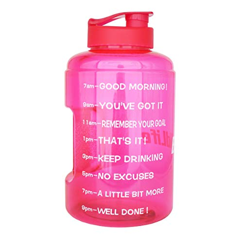 BuildLife 1 Gallon(128OZ) Sports Water Bottle Inspirational Fitness Workout Wide Mouth with Time Marker for Measuring Your H2O Intake BPA Free(1 Gallon, Pink+Pink lid) (Good Sick Excuses For Not Going To Work)