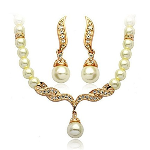 Adorable Woman Elegant Electroplating Diamond Studded Pearl Pendant Two-Piece Outfit Earrings + - Usps Much Shipping Cost How
