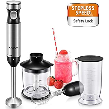 Immersion Blender Ultra-Quick 6-Smart Stepless Speed Hand Blender, Aicook 300 Watt Mixer Includes Food Processor, BPA-Free Beaker and Egg Whisk, ...