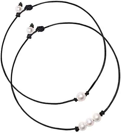 BOMAIL Single White Pearl Choker Necklace with Three Beads Freshwater Pearls Choker Necklace on Genuine Leather Cord Knotted Jewelry for Women Girls