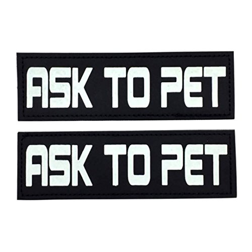 "ess Velcro Patches ""Ask to PET, Free HUGS, Service Dog, in Training Glow in The Dark (Ask to PET) ()"