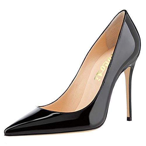VOCOSI Women's High Heels,Pointed Toe Patent Pumps Shoes for Ladies Party Dress 4.7 inches Black with 10 cm heel height