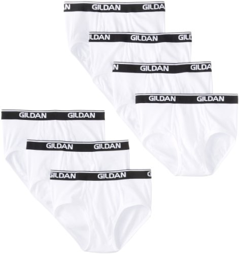 Gildan Platinum Men's 7-Pack Cotton Brief, White, Large