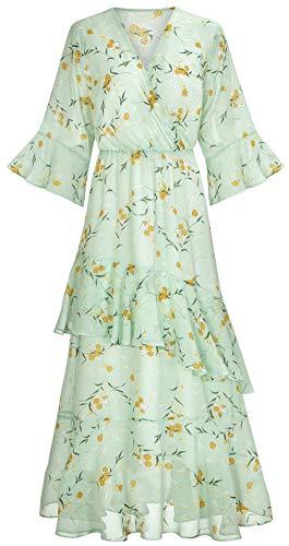 XINUO Women's Dresses V Neck Chiffon Floral Summer Casual Formal Work Maxi Sundress Cocktail Boho Midi Dress 2019 New (US 4-6=CN S,Light Green)