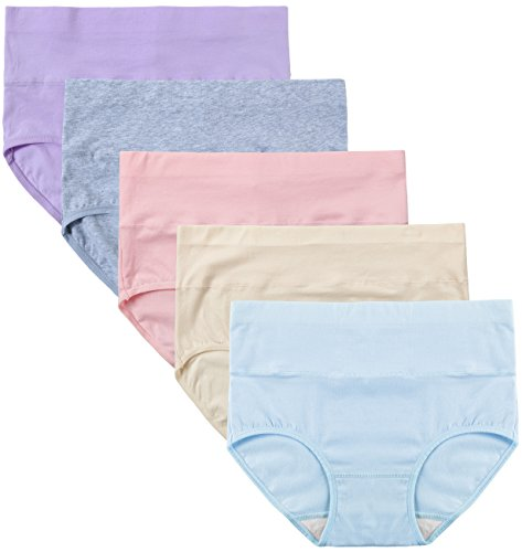 Innersy Women's 5 Pack Cotton Wavy Solid Color Tummy Control High Waist Underpants Brief Style (L, Pastels 2)