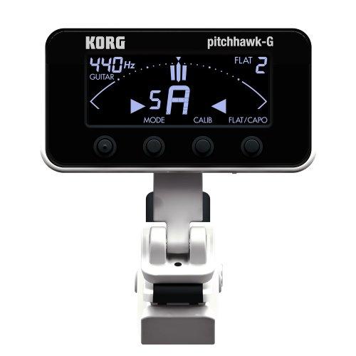 KORG PitchHawk AW-3G, Chromatisches Clip-On Stimmgerät / Tuner für Gitarre und Bass, weiß