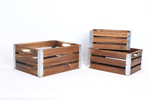 Kaite Design Set of 3 Wooden Crates with Metal Trim ()