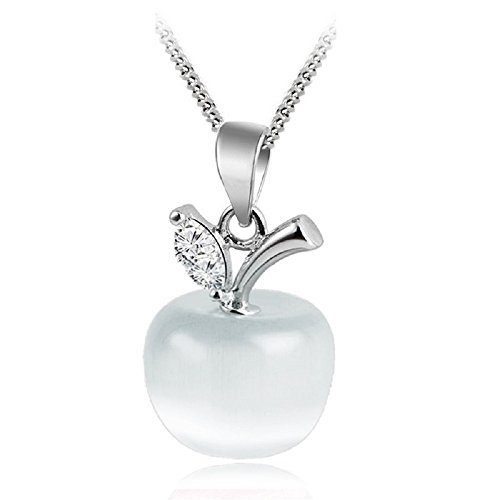 Apple Pendant Necklace with Austrian Crystals Simulated White Cat Eye Stone 18 ct White Gold Plated for Women 18