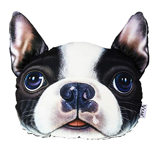 - VXAR Car Headrest Pillow French Bulldog Pet Dog Auto 3D Cute Animals Head Restraints of Automobile Seat Vehicle Large Size(Boston Terrier)