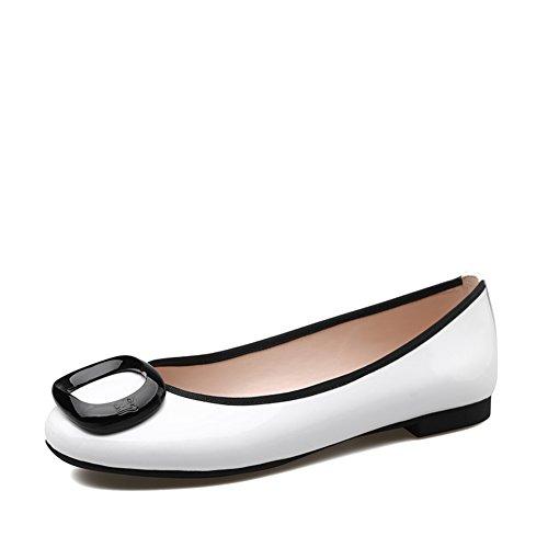 Charol hebilla zapatos de las señoras en primavera/zapatos de mujer baja luz de hechizo/Zapato de cabeza redonda A