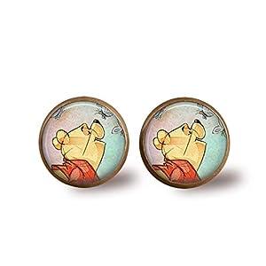 Winnie The Pooh Stud Earrings- Bronze