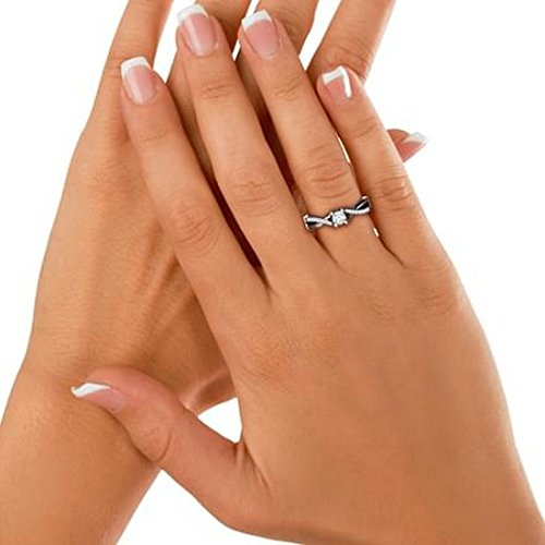 18K Or Blanc, 0.16carat Diamant Taille ronde (IJ | SI) en diamant