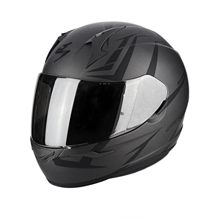 M Noir//Jaune SCORPION Casque moto EXO 390 HAWK Noir mat Jaune fluo