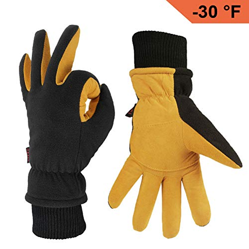 OZERO Winter Gloves Coldproof Thermal Ski Glove - Deerskin Leather Palm & Polar Fleece Back with Insulated Cotton - Windproof Water-Resistant Warm Hands in Cold Weather for Women Men - Tan(L)