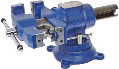 "Yost Vises 750-DI 5"" Heavy-Duty Multi-Jaw Rotating Combination Pipe and Bench Vise with 360-Degree Swivel Base and..."