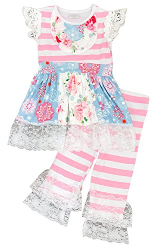 Toddler Little Girls Pretty in Pink Floral Lace Capri Set 12-18/XXS (Baby Girls Capri Clothes)