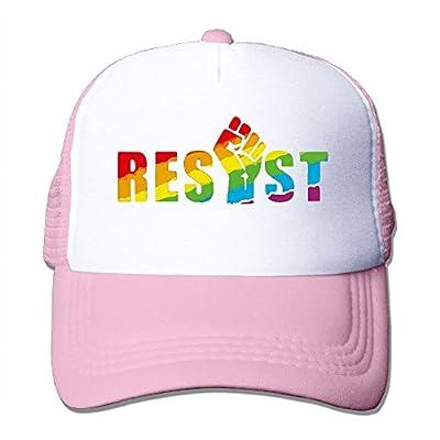 RUN_RUNNING& Resist LGBT Pride Rainbow Men's Adjustable Mesh Snapback Cap Hat