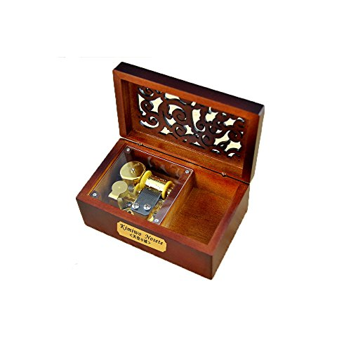 YouTang(TM) Creative Engraved Wooden 18-note Wind-up Musical Box,Musical Toys,Tune:Memory